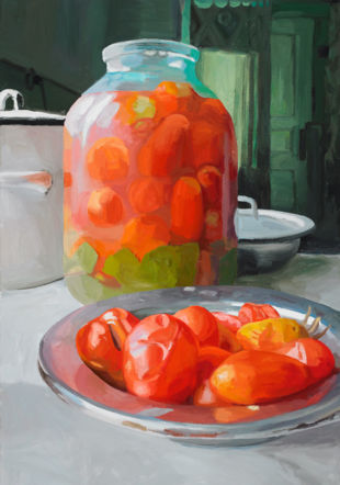 Pickled Tomatoes, 2011. Huile sur toile, 150 x 100 cm.