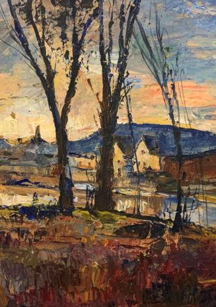 L'étang de la Saunerie et le Lacustre Musée de la vigne et du vin, château de Boudry