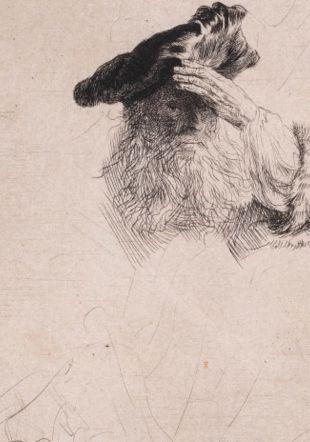 Rembrandt Harmensz van Rijn, Vieillard portant la main à son bonnet, vers 1639, eau-forte et pointe sèche sur papier vergé. Cabinet cantonal des estampes, Fonds des estampes du Professeur Pierre Decker, Musée Jenisch Vevey