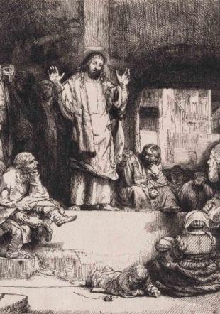 Rembrandt Harmensz van Rijn (1606-1669), La Petite Tombe ou Jésus-Christ prêchant, vers 1652 Eau-forte et pointe sèche sur papier vergé, 155 × 208 mm. Fonds des estampes du Professeur Pierre Decker Musée Jenisch Vevey. Photo: Antonio Manisalco