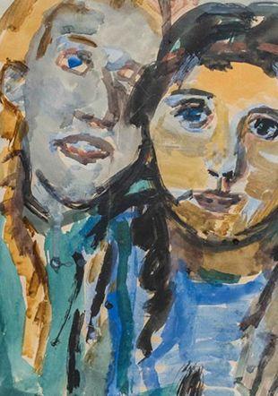 Oskar Kokoschka, Die beiden Schwestern [Les deux soeurs], 1922 (détail), quarelle sur papier, 695 × 518 mm, Fondation Oskar Kokoschka, Vevey © Fondation Oskar Kokoschka 2019, ProLitteris, Zurich