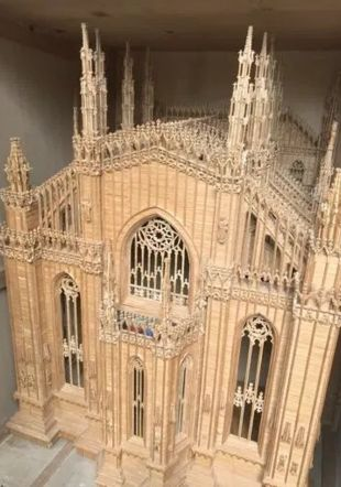 Maquette du Duomo de Milan en allumettes par Albert Schenk
