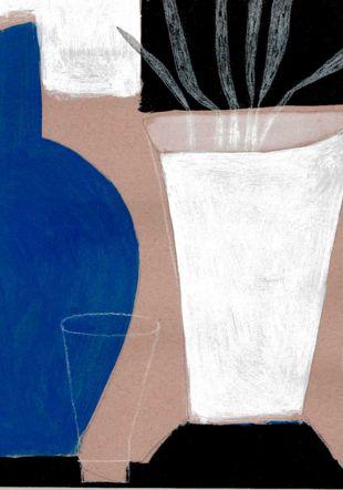 Vase bleu, 2021. Acrylique sur papier, 30 x 30 cm.