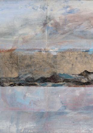 Isabel COBBI-CALLEN, Ici & ailleurs, 2021, technique mixte sur toile, 80 x 120 cm