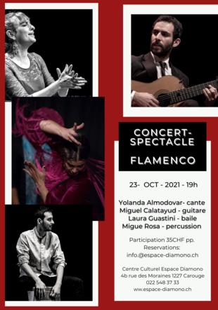 Yolanda Almodovar- cante Miguel Calatayud - guitare Laura Guastini - baile Migue Rosa - percussion - Concert Espace Diamono-23.10.21 Espace Diamono