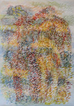 relations, 2019, acrylique sur papier, marouflé sur toile, 70x95 cm kaminska&stocker