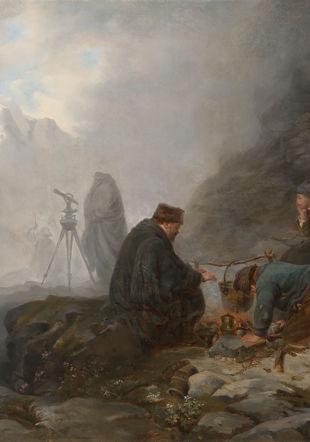 Raphael Ritz (1829-1894), Ingénieurs dans la montagne, s.d. [vers 1870], huile sur toile, 59.3 x 72.5 cm Musée d'art du Valais, Sion Musées cantonaux du Valais, Sion.