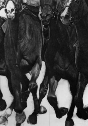 Joël Person, Les chevaux de l'apocalypse 2 et 3, 2020, fusain sur papier. Collection de l'artiste © Frederic Fontenoy