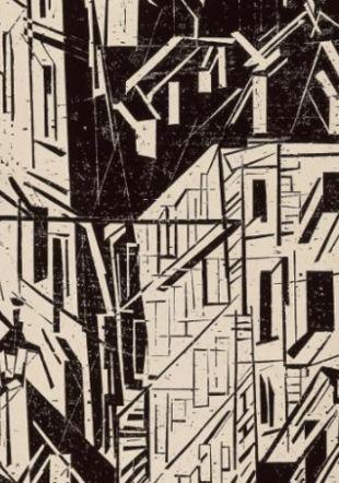 Lyonel Feininger (1871-1956), Rue à Paris, 1918, xylographie sur papier, 548×412mm Collection privée ©2020, ProLitteris, Zurich