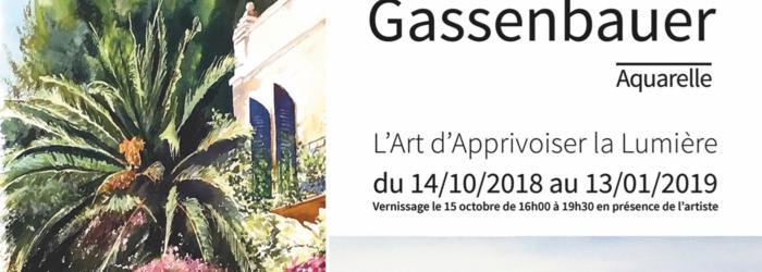 """Affiche de l'exposition """"Beni ou l'Art d'Apprivoiser la Lumière"""" Affiche réalisée par www.cosycom.ch Aquarelles de B. Gassenbauer"""