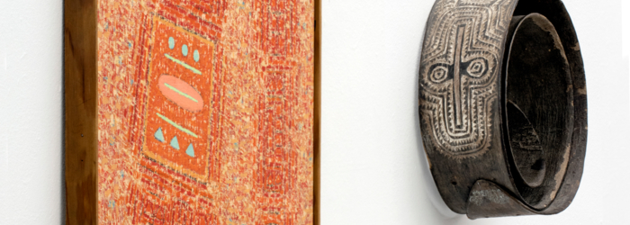 Seund Ja Rhee, huile sur toile et Ceinture Sépik Papouasie, Nouvelle Guinée Alain Germond