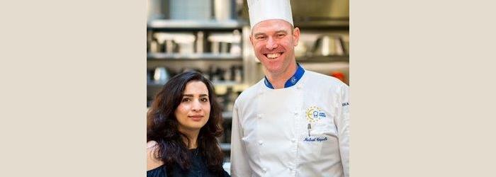 Jenan Hamza, cuisinière syrienne, et Michael Coquelle, Chef à l'Hôtel d'Angleterre Antoine Tardy