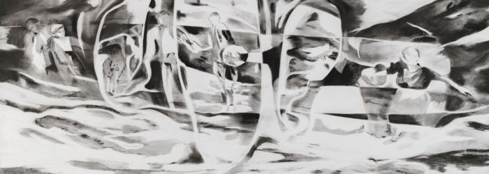 Céline Burnand, Silsila, fusain sur papier, 2019, 110x186cm Céline Burnand