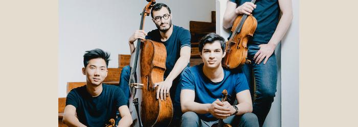 Quatuor Arod, Jordan Victoria, violon, Alexandre Vu, violon, Tanguy Parisot, alto, Samy Rachid, violoncelle ©Marco Borggreve