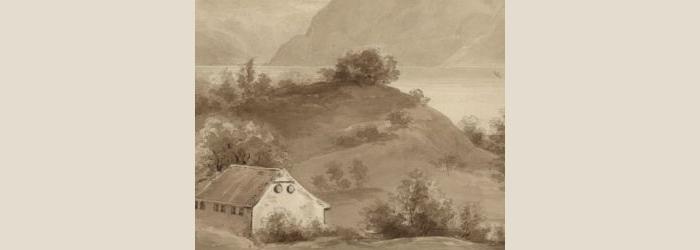 Idalie Vernes-Prescott, Mont Rion pres Lausanne, crayon et lavis, 1827, coll. Musée Historique Lausanne