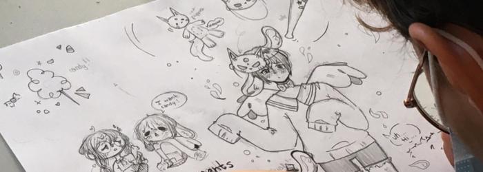Un élève d'Apolline en plein travail lors de notre dernier stage de dessin BD/Manga :) Apolline Sàrl